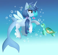 Size: 1024x959 | Tagged: safe, artist:emera33, oc, oc only, hybrid, merpony, pony, turtle, unicorn, blue background, blue mane, bubble, cloven hooves, commission, eyelashes, fish tail, flowing tail, horn, jewelry, necklace, pearl necklace, ribbon, simple background, smiling, solo, tail, underwater, water