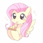 Size: 1657x1631 | Tagged: safe, artist:arrow__root, fluttershy, pegasus, pony, cute, eating, female, food, mare, pizza, shyabetes, solo, spread wings, tomato, weapons-grade cute, wings