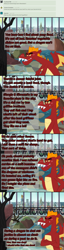 Size: 900x3502   Tagged: safe, artist:queencold, garble, griffon, ask garble, cafe, falafel, food, manehattan, pony racism, revenge, seafood, solo