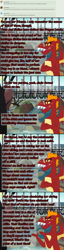 Size: 900x3507   Tagged: safe, artist:queencold, gallus, garble, ocellus, sandbar, silverstream, smolder, yona, changeling, dragon, earth pony, hippogriff, ask garble, big brother instinct, manehattan, molting, solo, student six, tea party