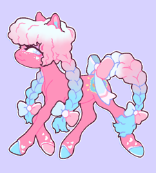 Size: 3713x4108 | Tagged: safe, artist:norbiester, spring treat, g3, bow, braid, colored hooves, female, g3 to g4, generation leap, hair bow, mare, redesign, simple background, solo, tail, tail bow