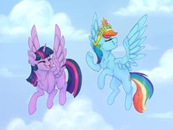 Size: 1536x1152 | Tagged: safe, rainbow dash, twilight sparkle, alicorn, pegasus, cloud, cloudy, element of magic, female, flying, lesbian, shipping, twidash, twilight sparkle (alicorn)