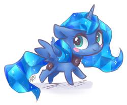 Size: 1820x1504 | Tagged: safe, artist:megabait, princess luna, alicorn, crystal pony, pony, chibi, crystal, crystal luna, crystallized, female, happy, horn, princess, solo, wings