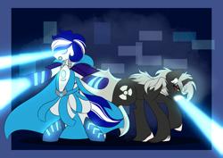Size: 2048x1446   Tagged: safe, artist:mikkybun, oc, oc:ivislor, cyborg, cyborg pony, pony, fanfic:the bridge, blue eyes, blue hair, cape, clothes, commission, duo, fanfic art, godzilla, godzilla (series), laser, ponified, radioactive, superhero, toho