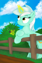 Size: 1884x2850   Tagged: safe, artist:eel's stuff, lyra heartstrings, pony, cloud, fence, grass, hits pipe, meme, pipe, sky