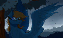 Size: 1600x960 | Tagged: safe, artist:milkywoods, oc, oc only, oc:blue scroll, pegasus, pony, bust, goggles, male, pegasus oc, portrait, safety goggles