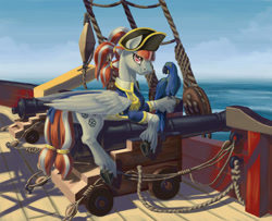 Size: 1500x1220 | Tagged: safe, oc, oc only, oc:christal shimmer, pegasus, pony, cannon, hat, pirate, pirate hat, ship, unshorn fetlocks, wings
