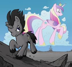 Size: 1500x1400 | Tagged: safe, artist:yewdee, princess cadance, oc, oc:striking sword, alicorn, pony, unicorn, cloud, crystal empire, horizon, rock