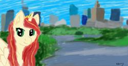 Size: 3280x1712 | Tagged: safe, artist:polonius, oc, oc only, oc:sawa, alicorn, pony, warsaw