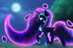 Size: 4200x2800 | Tagged: safe, artist:stravyvox, nightmare moon, alicorn, pony, moon, night, solo