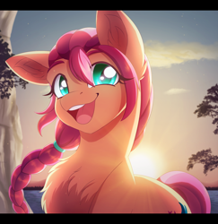 Size: 2500x2577   Tagged: safe, artist:_ladybanshee_, sunny starscout, earth pony, pony, g5, braid, chest fluff, cliff, ear fluff, happy, ocean, outdoors, smiling, solo, sun, sunrise