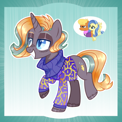 Size: 2048x2048 | Tagged: safe, artist:keeka-snake, ms. harshwhinny, sunshower, oc, pony, unicorn, clothes, female, magical lesbian spawn, mare, offspring, parent:ms. harshwhinny, parent:sunshower, sweater