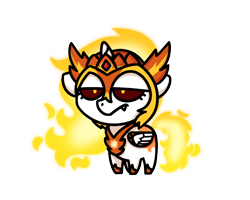 Size: 1280x1024 | Tagged: safe, artist:sugar morning, daybreaker, alicorn, pony, armor, chibi, fire, grumpy, simple background, solo, transparent background