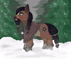 Size: 3500x2900 | Tagged: safe, artist:hotcurrykatsu, oc, earth pony, pony, yakutian horse, facial hair, forest, fur, snow, solo