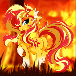 Size: 2500x2500 | Tagged: safe, artist:rurihal, sunset shimmer, pony, unicorn, bunset shimmer, butt, chest fluff, dock, ear fluff, female, looking at you, mare, plot, smiling, smiling at you, solo, tail