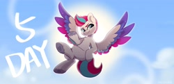 Size: 4096x1982 | Tagged: safe, artist:colorfulcolor233, zipp storm, pegasus, g5, my little pony: a new generation, cloud, eyebrows, female, flying, heart, heart hoof, hoof on hip, mare, sky, smiling, solo, sun, unshorn fetlocks