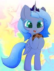 Size: 1080x1440 | Tagged: safe, artist:zokkili, princess luna, alicorn, bipedal, colored eyelashes, cookie, female, filly, food, woona, younger