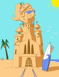 Size: 1024x1326 | Tagged: safe, artist:sergeant16bit, sandbar, elemental, arm behind head, beach, beach ball, bottle, crown, grin, jewelry, potion, regalia, rule 63, sand pony, sandbank, sandcastle, seashell, smiling, sunglasses, surfboard, transformation, transgender transformation, water