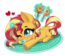 Size: 4300x3700 | Tagged: safe, artist:jack-pie, sunset shimmer, pony, unicorn, baby, baby pony, babyset shimmer, blushing, cute, female, filly, filly sunset shimmer, glowing horn, horn, levitation, lying down, magic, mouth hold, one eye closed, pacifier, prone, rattle, shimmerbetes, simple background, telekinesis, transparent background, weapons-grade cute, younger