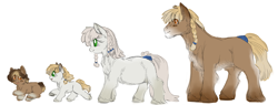 Size: 4093x1556   Tagged: safe, artist:snspony, oc, oc only, oc:glacial planes, pony, yakutian horse, colt, crotchboobs, family, female, filly, foal, male, mare, nudity, pot, pregnant, simple background, sketch, smiling, snow mare, stallion, teats, white background