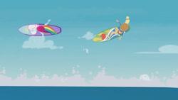 Size: 3410x1920   Tagged: safe, screencap, applejack, rainbow dash, blue crushed, equestria girls, equestria girls series, applejack's hat, barefoot, bikini, clothes, cowboy hat, duo, duo female, feet, female, hat, high res, midriff, surfboard, surfing, swimming trunks, swimsuit