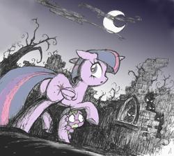 Size: 884x796 | Tagged: safe, artist:yewdee, spike, twilight sparkle, alicorn, dragon, 2019, floppy ears, moon, night, ruins, tree, twilight sparkle (alicorn)