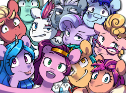 Size: 2730x2016 | Tagged: safe, alternate version, artist:chub-wub, alphabittle (g5), argyle starshine, hitch trailblazer, izzy moonbow, phyllis cloverleaf, pipp petals, queen haven, sprout (g5), sunny starscout, zipp storm, bird, crab, earth pony, pegasus, pony, seagull, unicorn, g5, :p, cute, father and child, father and daughter, female, glasses, grin, hug, male, mane five (g5), mare, markings, mother and child, mother and daughter, selfie, siblings, sisters, smiling, stallion, tongue out, twins, unshorn fetlocks