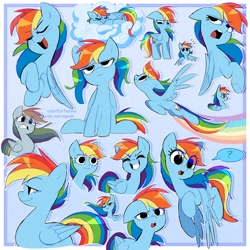 Size: 2500x2500 | Tagged: safe, artist:syrupyyy, rainbow dash, pegasus, pony, cute, dashabetes, eyes closed, eyes open, female, flying, looking down, open mouth, smiling