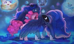 Size: 1280x768 | Tagged: safe, artist:blueomlette, pinkie pie, princess celestia, princess luna, rainbow dash, rarity, alicorn, earth pony, pegasus, unicorn, anthro, bedroom eyes, butt, commission, crown, digital art, ethereal mane, eyes closed, horn, hug, jewelry, plot, raised tail, rear view, regalia, spread wings, starry mane, starry tail, tail, winghug, wings, ych result
