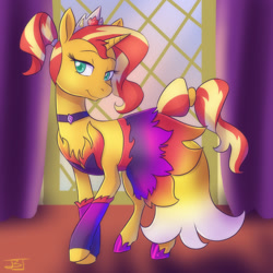 Size: 1280x1280 | Tagged: safe, artist:jitterbugjive, sunset shimmer, pony, unicorn, arm warmers, choker, clothes, crown, dress, female, hoof shoes, jewelry, lidded eyes, mare, ponytail, regalia, smiling, solo