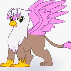 Size: 400x400 | Tagged: safe, artist:kushina13, oc, oc only, oc:ashina, griffon, beak, female, leonine tail, smiling, solo, spread wings, tail, wings