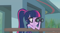 Size: 3410x1920 | Tagged: safe, screencap, sci-twi, twilight sparkle, equestria girls, equestria girls series, unsolved selfie mysteries, clothes, female, geode of empathy, glasses, high res, jewelry, magical geodes, necklace, one-piece swimsuit, ponytail, solo, swimsuit