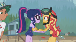 Size: 3410x1920 | Tagged: safe, screencap, sci-twi, sunset shimmer, timber spruce, twilight sparkle, equestria girls, equestria girls series, unsolved selfie mysteries, beach, clothes, female, geode of telekinesis, glasses, goggles, high res, jewelry, lifeguard timber, magical geodes, male, necklace, one-piece swimsuit, open mouth, ponytail, swimsuit