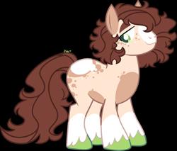 Size: 1481x1259   Tagged: safe, artist:kurosawakuro, oc, earth pony, pony, male, offspring, parent:applejack, parent:trouble shoes, parents:troublejack, simple background, solo, stallion, transparent background