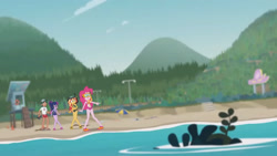 Size: 3410x1920   Tagged: safe, screencap, pinkie pie, sci-twi, sunset shimmer, timber spruce, twilight sparkle, equestria girls, equestria girls series, unsolved selfie mysteries, beach, beach shorts swimsuit, clothes, eyes closed, female, geode of empathy, geode of sugar bombs, geode of telekinesis, glasses, goggles, high res, jewelry, lifeguard timber, magical geodes, male, necklace, one-piece swimsuit, open mouth, ponytail, sandals, sunset shimmer's beach shorts swimsuit, swimsuit