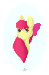 Size: 872x1328 | Tagged: safe, artist:cellss, apple bloom, earth pony, pony, bust, female, filly, portrait, solo