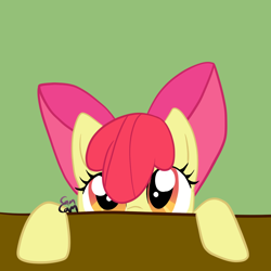 Size: 1024x1024 | Tagged: safe, artist:camcamtehcamsta, apple bloom, earth pony, pony, adorabloom, cute, female, filly, looking at you, signature, solo, table