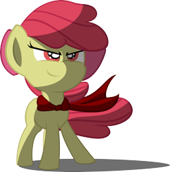 Size: 2082x2107 | Tagged: safe, artist:rcflashfreak, apple bloom, earth pony, pony, cape, clothes, female, filly, full body, high res, red eyes, red mane, shadow, simple background, smiling, solo, standing, transparent background