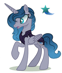 Size: 976x1164 | Tagged: safe, artist:venomous-cookietwt, oc, oc only, oc:star gazer, alicorn, pony, alicorn oc, ethereal mane, eyelashes, eyeshadow, female, folded wings, full body, gradient mane, gradient tail, horn, makeup, mare, open mouth, parents:styuna, raised hoof, shadow, simple background, solo, standing, starry mane, tail, teal eyes, transparent background, wings