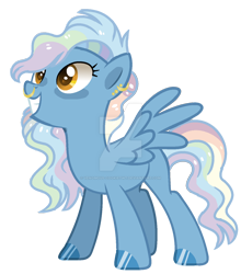 Size: 1280x1452 | Tagged: safe, artist:venomous-cookietwt, oc, oc only, pegasus, pony, deviantart watermark, ear piercing, earring, female, jewelry, mare, multicolored hair, nose piercing, nose ring, obtrusive watermark, offspring, parent:pokey pierce, parent:rainbow dash, pegasus oc, piercing, rainbow hair, simple background, smiling, solo, spread wings, standing, tail, transparent background, watermark, wings, yellow eyes