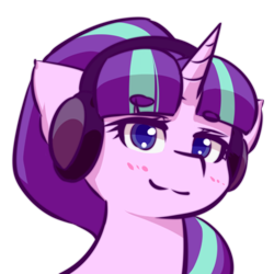 Size: 512x512 | Tagged: safe, artist:ninebuttom, starlight glimmer, pony, unicorn, beanbrows, blushing, bust, eyebrows, eyebrows visible through hair, eyelashes, female, headphones, horn, mare, portrait, s5 starlight, simple background, smiling, solo, transparent background