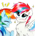 Size: 1851x1875   Tagged: safe, artist:liaaqila, rainbow dash, zipp storm, pegasus, pony, g5, alternate hairstyle, chest fluff, cute, dashabetes, duo, emanata, eye clipping through hair, eyes closed, female, mare, open mouth, smiling, sparkles, spread wings, traditional art, wings