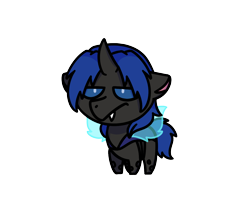 Size: 1280x1024   Tagged: safe, artist:sugar morning, oc, oc only, oc:swift dawn, changeling, blue changeling, blue eyes, buggo, changeling oc, chibi, commission, fangs, grumpy, horn, male, simple background, solo, stallion, transparent background, unimpressed, wings, ych result