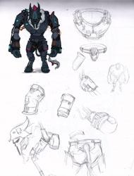 Size: 4864x6391   Tagged: safe, artist:tass_the_bovine, anthro, armor, dieselpunk, dieselpunk equestria, gear, gun, mercenary, solo, storm, storm guard, weapon