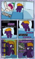 Size: 1920x3169   Tagged: safe, artist:alexdti, oc, oc only, oc:marco, oc:purple creativity, pegasus, pony, unicorn, comic:quest for friendship, bed, eyes closed, female, glasses, male, nightmare, nose in the air, open mouth, panting, speech bubble, twilight's castle