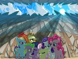 Size: 800x600 | Tagged: safe, artist:rangelost, applejack, fluttershy, pinkie pie, rainbow dash, rarity, spike, twilight sparkle, dragon, pony, mane six