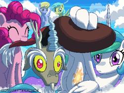 Size: 800x600 | Tagged: safe, artist:rangelost, discord, pinkie pie, princess celestia, alicorn, draconequus, earth pony, pegasus, pony