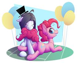 Size: 1280x1054 | Tagged: safe, artist:senaelik, pinkie pie, oc, oc:hattsy, earth pony, pony, balloon, lying down, prone, simple background, transparent background