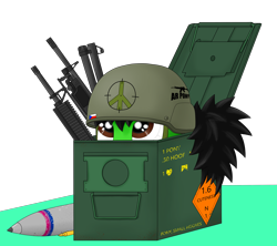 Size: 4500x4000 | Tagged: safe, artist:zocidem, oc, oc only, oc:wrench, earth pony, pony, ammobox, helmet, shells, solo, weapon