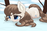 Size: 3600x2400 | Tagged: safe, artist:ahobobo, oc, oc:frosty flakes, earth pony, pony, yakutian horse, ear fluff, female, fluffy, high res, looking away, lying down, outdoors, prone, snow, snow mare, solo, three quarter view